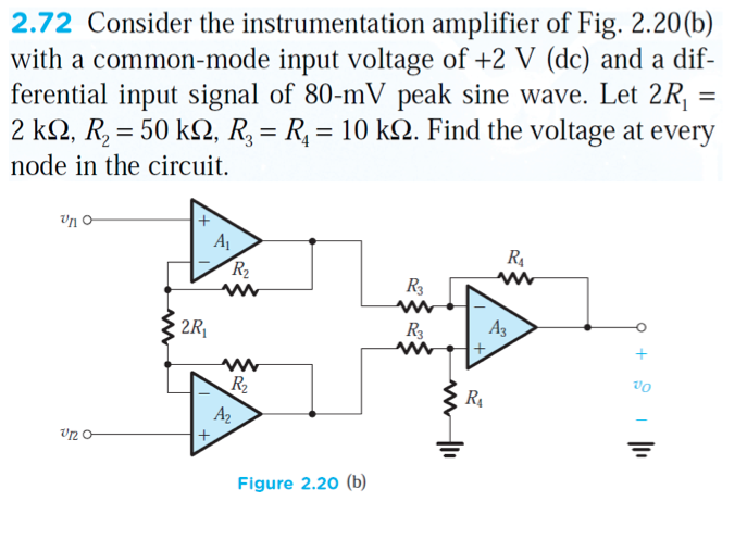 Consider the instrumentation amplifier of Fig. 2.2
