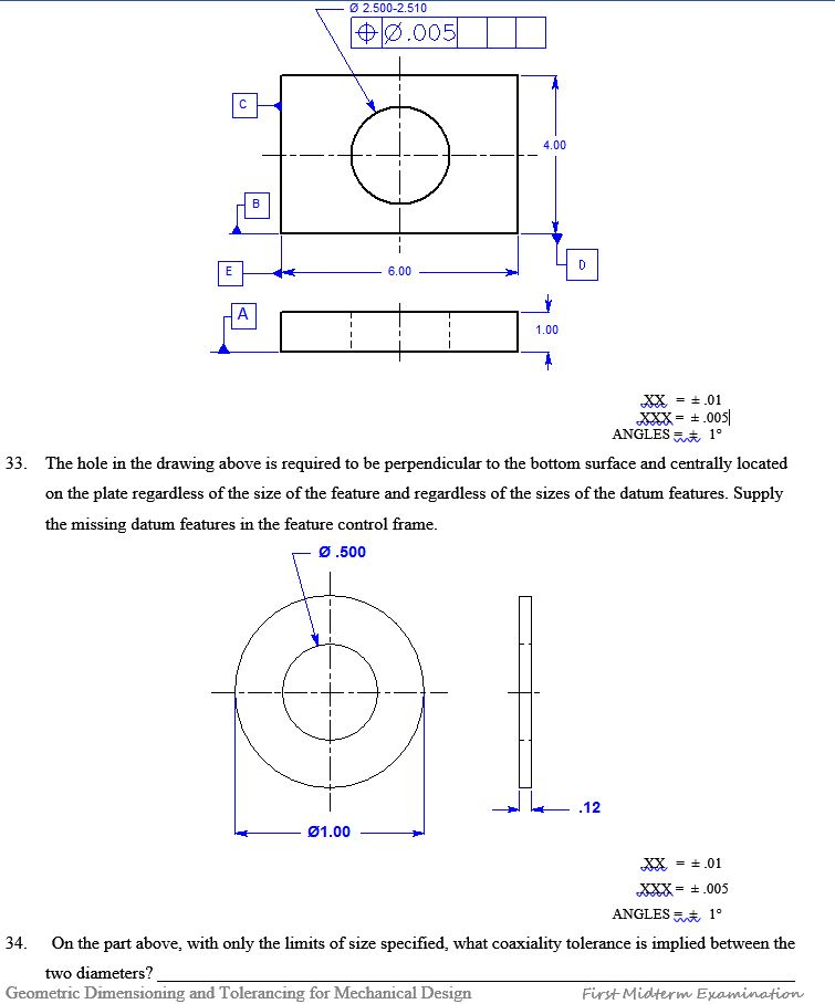 Geometric Dimensioning And Tolerancing First Midte Chegg