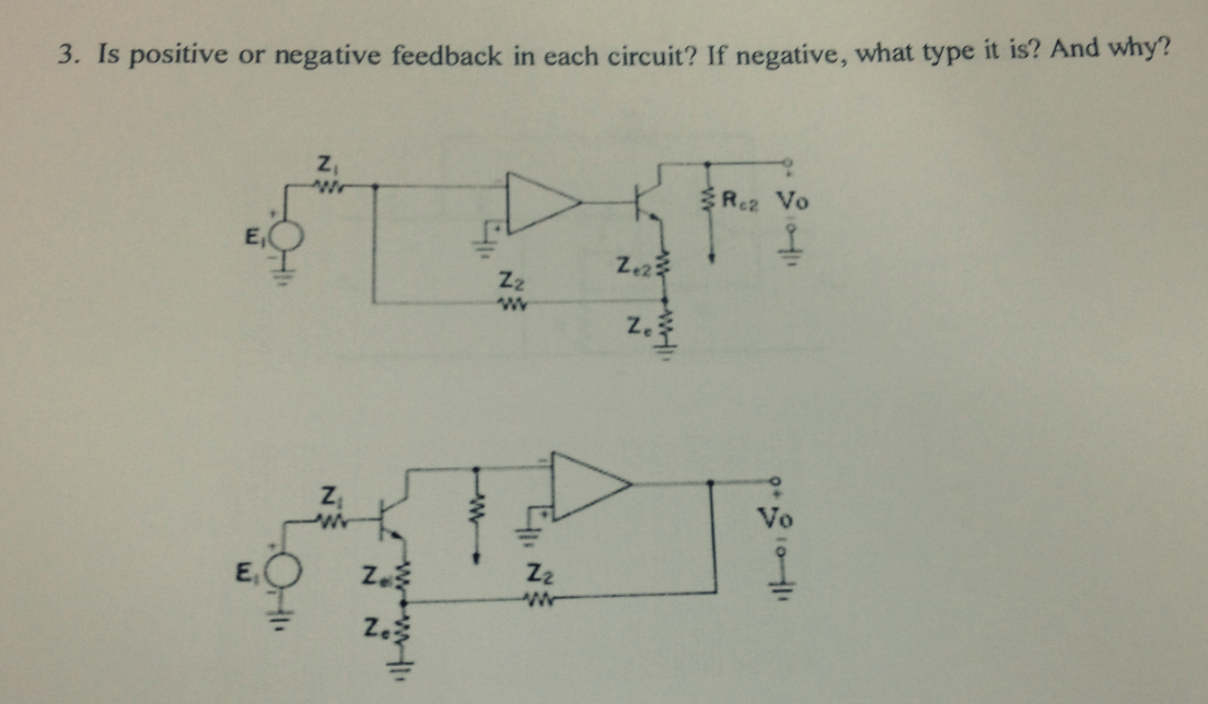 In positive or negative feedback in each circuit?