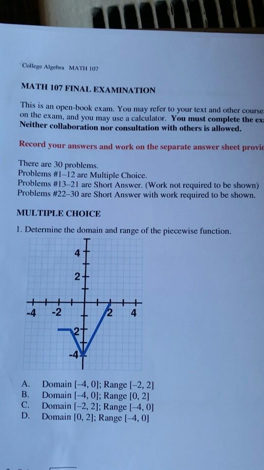 Solved: College Algebra MATH 107 MATH 107 FINAL EXAMINATIO ...