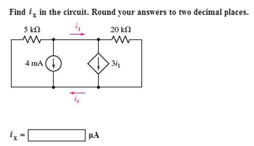 Find ix in the circuit. Round your answers to two