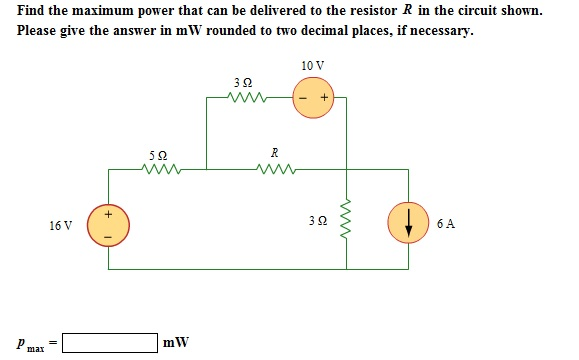 Find the maximum power that can be delivered to th