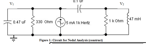Write the two nodal equations for Figure 1 below.