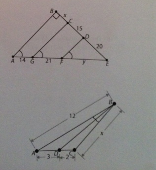 in first diagram  find lengths x and y.i