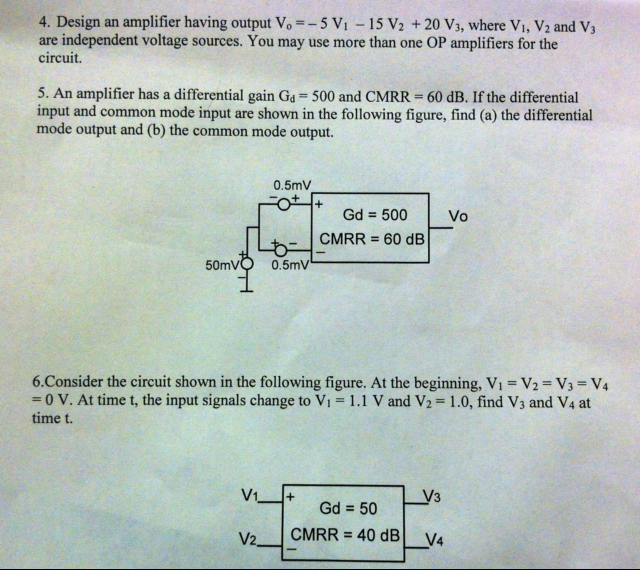 Design an amplifier having output V0 = -5 V1 - 15