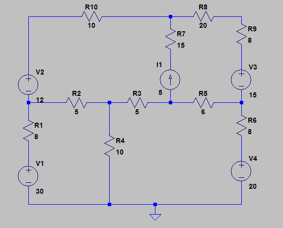 Find i1, i2, i3, and i4 in the following circuit u