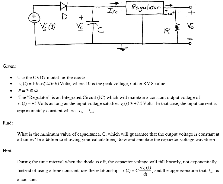 Given: Use the CVD7 model for the diode. vs(t) =