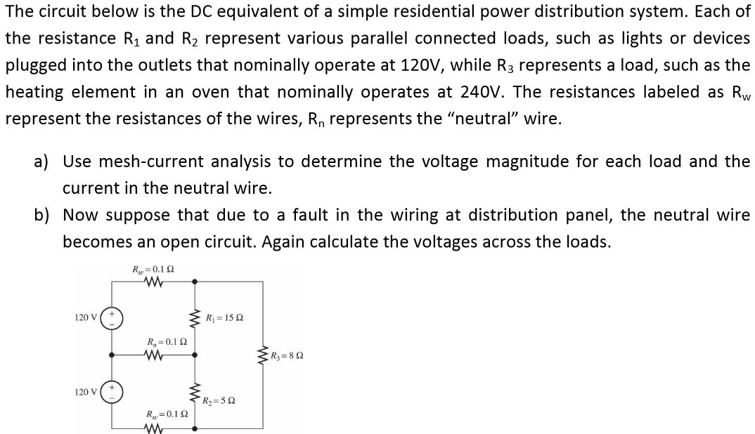 The circuit below is the DC equivalent of a simple