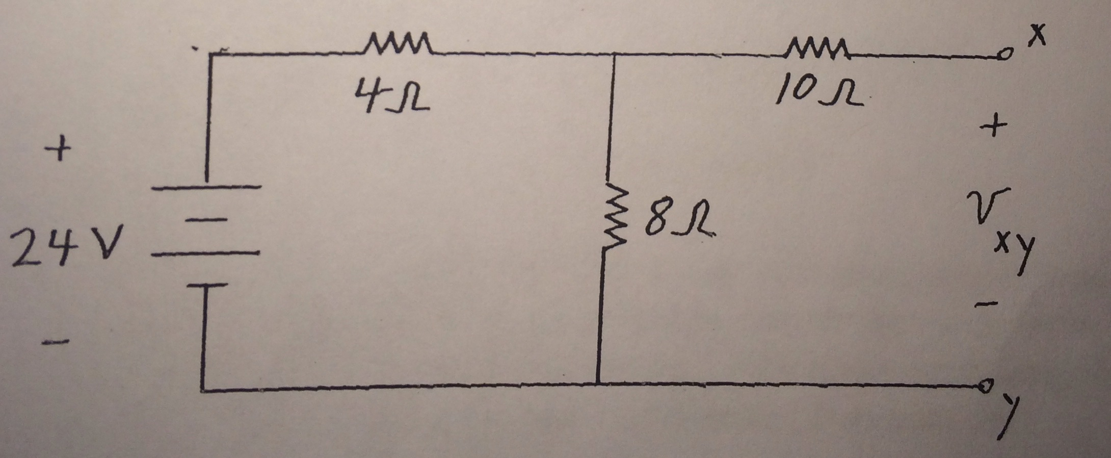 Determine the value of the voltage designates as V