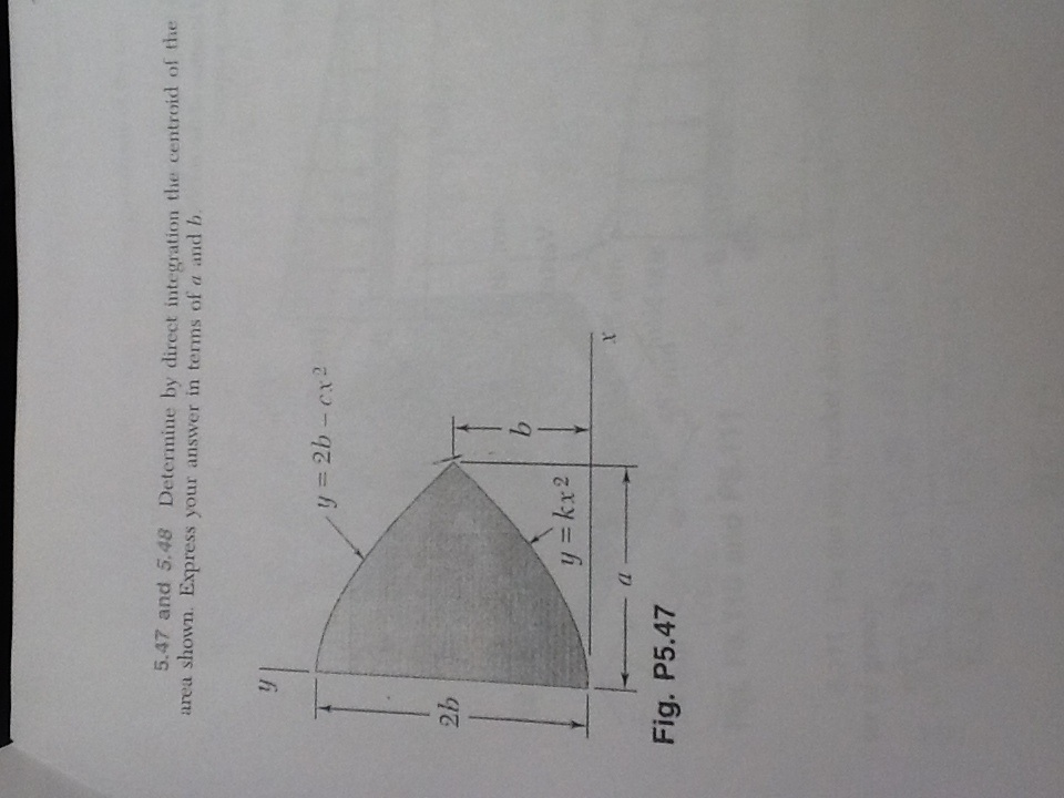 determined by direct integration the centroid of the area shown