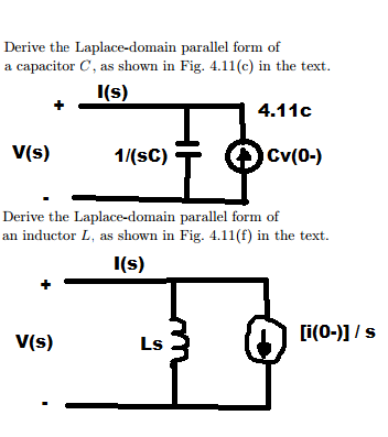 Derive the Laplace-domain parallel form of a capac