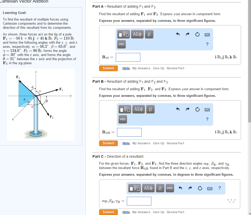 Artesian Vector Addition Part A Resultant Of Addin... | Chegg.com