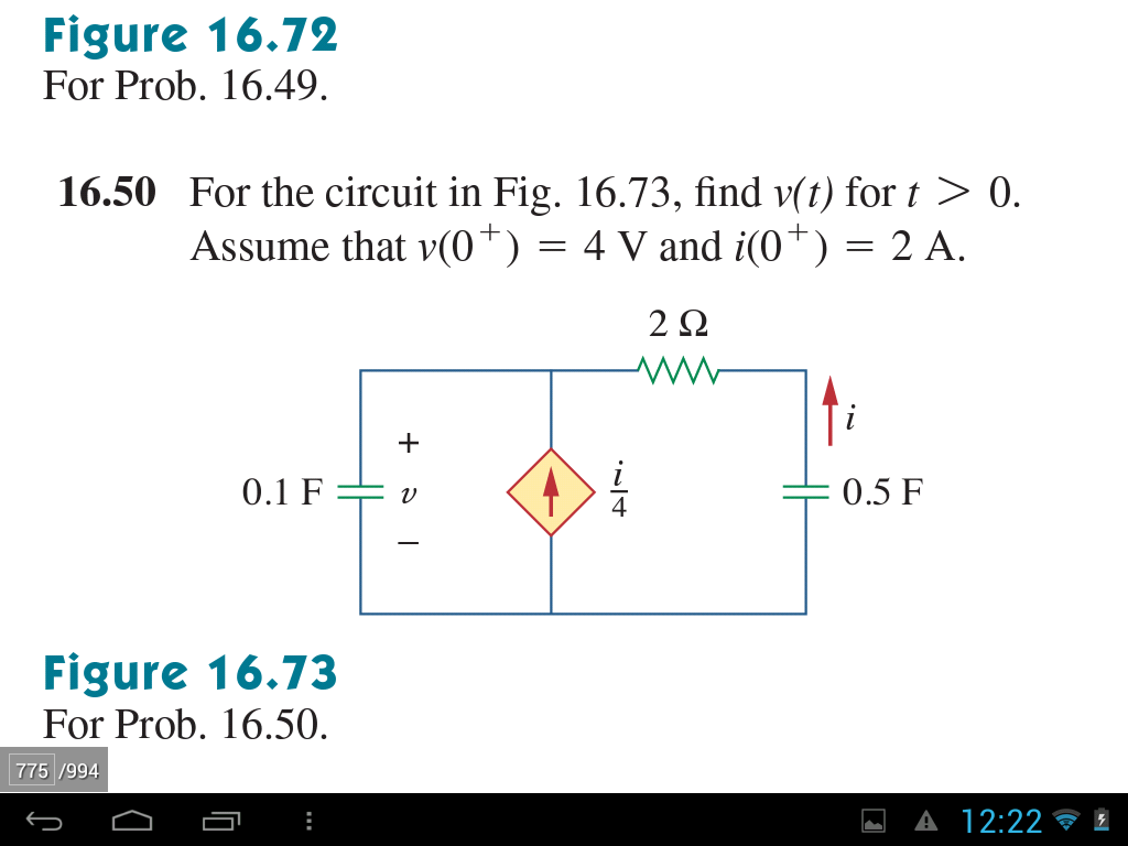For the circuit in Fig. 16.73, find v(t) for t > 0