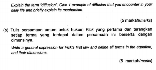 """Solved: Explain The Term """"diffusion"""". Give 1 Example Of Di ..."""