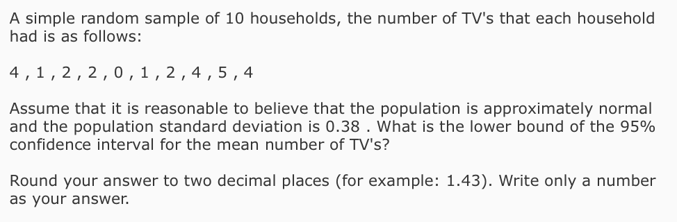 Solved A Simple Random Sample Of 10 Households The Numbe