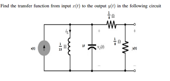 Find the transfer function from input x(t) to the