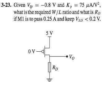 Given Vtp = -0.8 V and Kp = 75 muA/V2, what is the