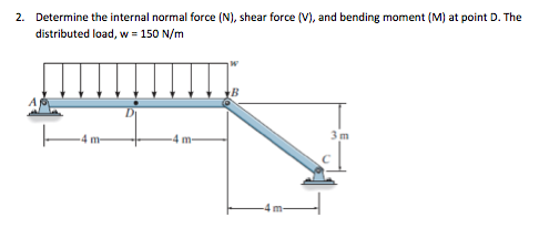 Determine the internal normal force (N), shear for