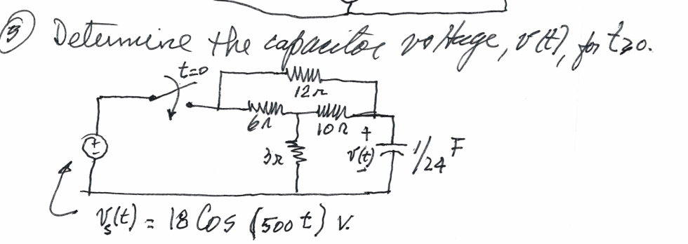 Determine the capacitor voltage, v(t), for