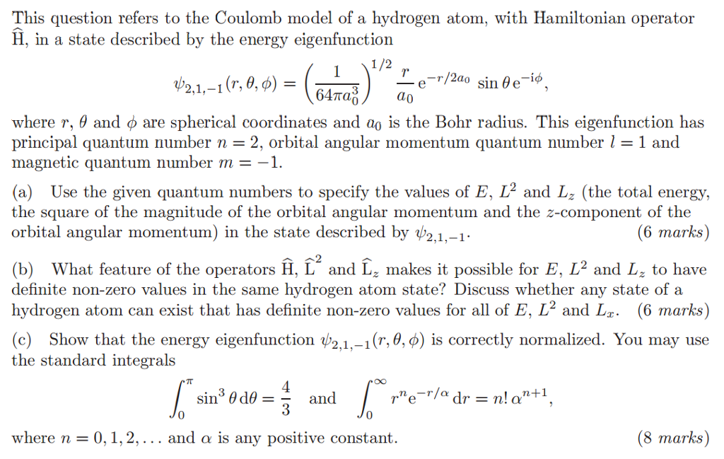 This Question Refers To The Coulomb Model Of A Hyd ...