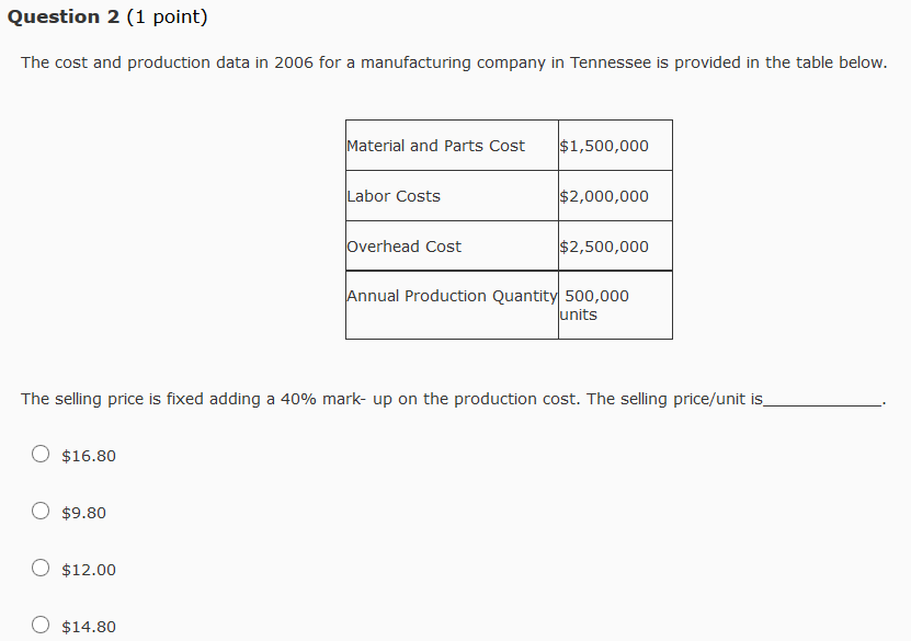 Question 2 1 Point The Cost And Production Data Chegg Com