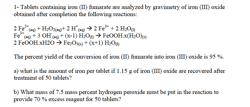 analysis of iron tablets Colorimetric fe analysis into a second 50 ml volumetric flask do not add any of the iron solution, but add about 10 drops of 3 m h 2 so 4 then.