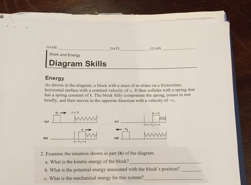 Solved  Name Class Date Work And Energy Diagram Skills Ene