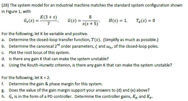 The system model for an industrial machine matches