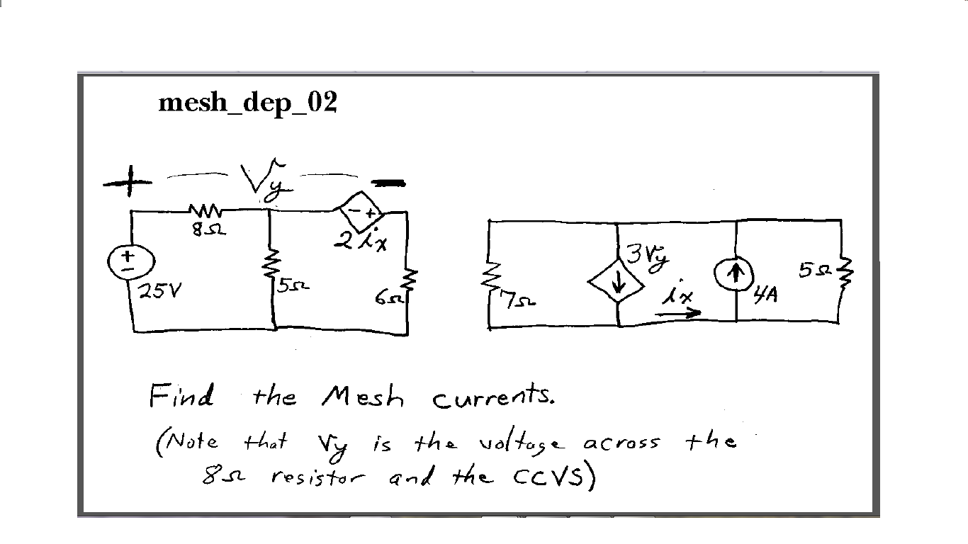 Find the Mesh currents. (Note that vy is the volt
