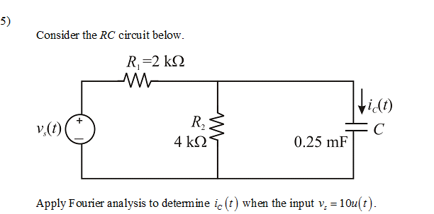 Consider the RC circuit below. Apply Fourier anal