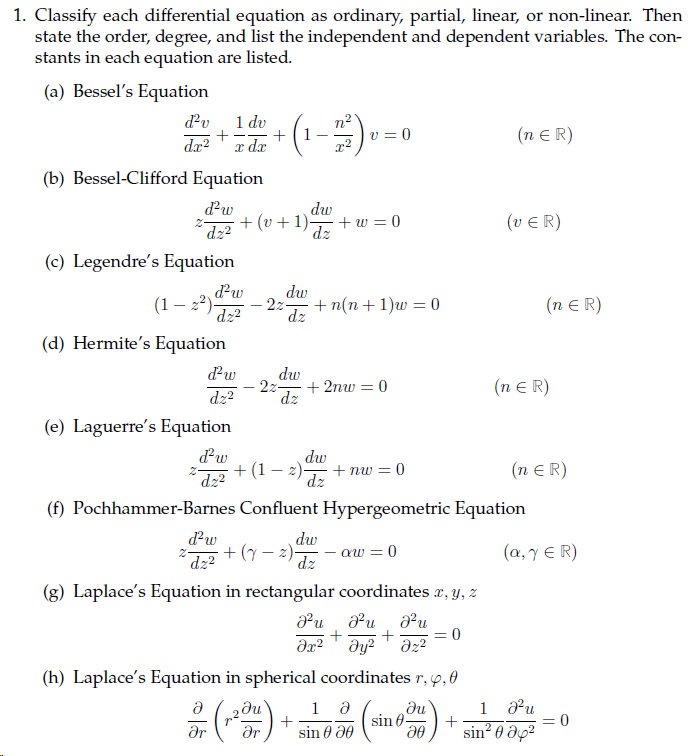 Solved 1 Classify Each Differential Equation As Ordinary