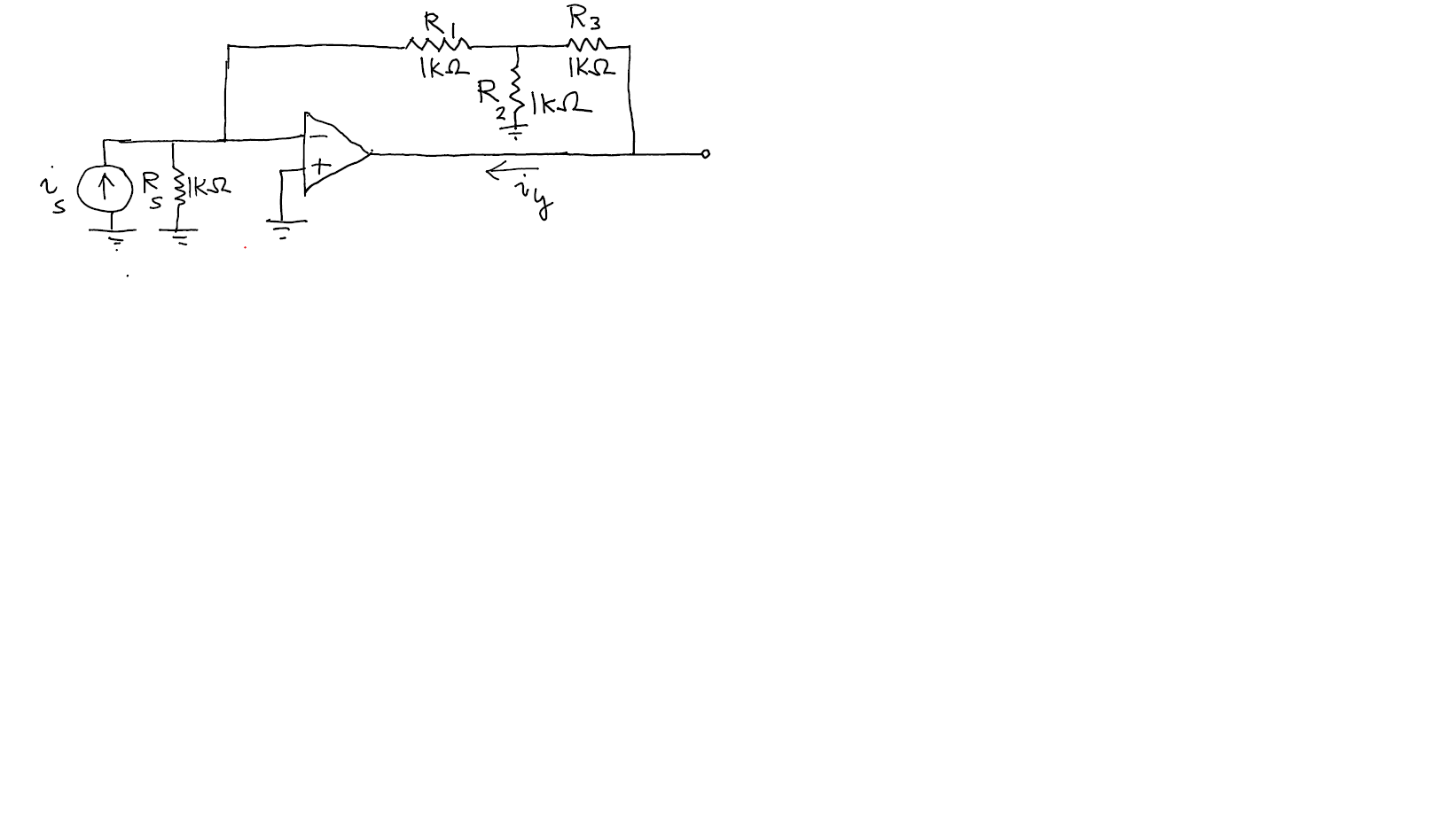 Determine vo/is and iy/is. The op amp is ideal.