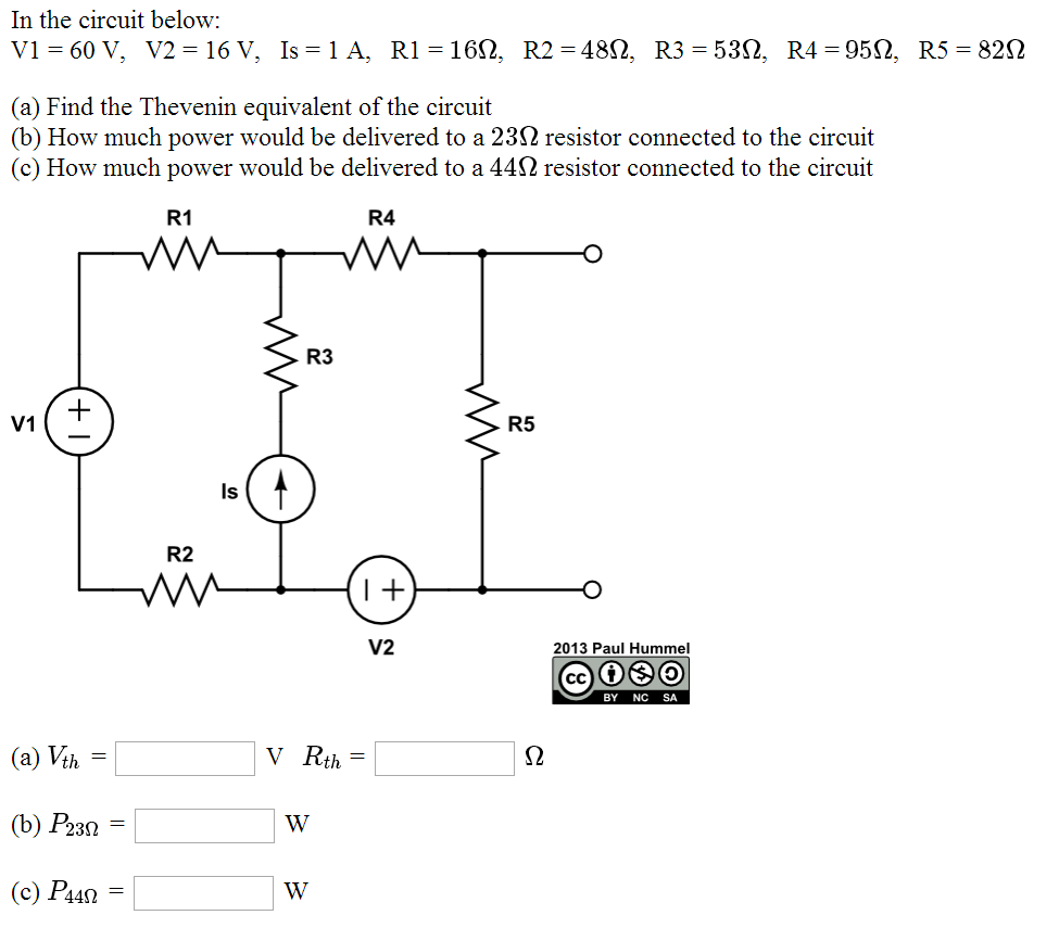 In the circuit below: V1 = 60 V, V2 = 16 V, Is =
