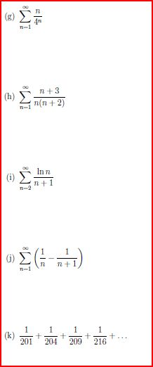 Determine the convergence or divergence of the fol