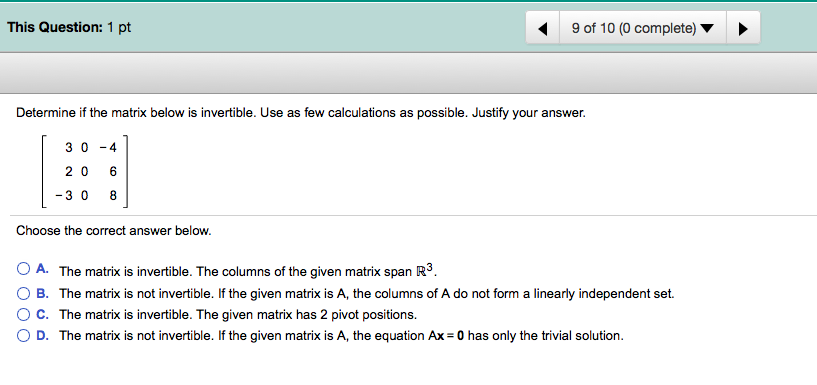 Determine If The Matrix Below Is Invertible. Use A... | Chegg.com
