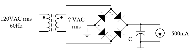 (20) A power supply with a full-wave bridge rectif