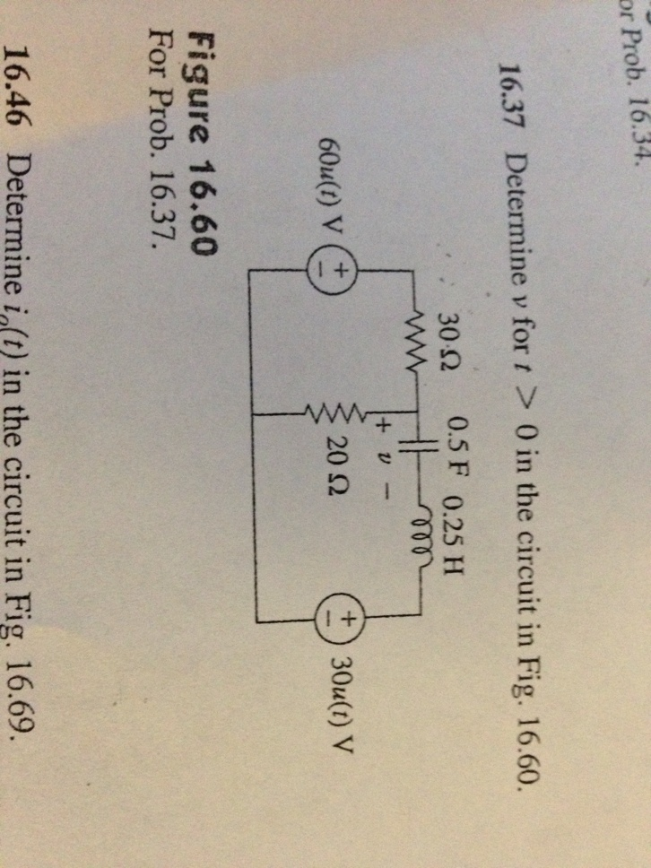 Determine v for t > 0 in the circuit in Fig. 16.60