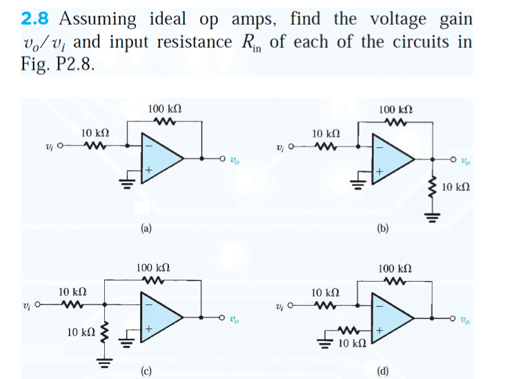 Assuming ideal op amps, find the voltage gain v0 /