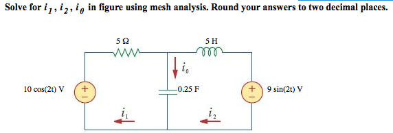 Use mesh analysis to determine current Io in the c