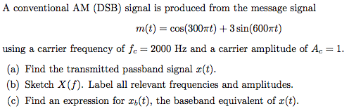 A conventional AM (DSB) signal is produced from th