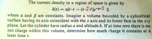 The current density in a region of space is given