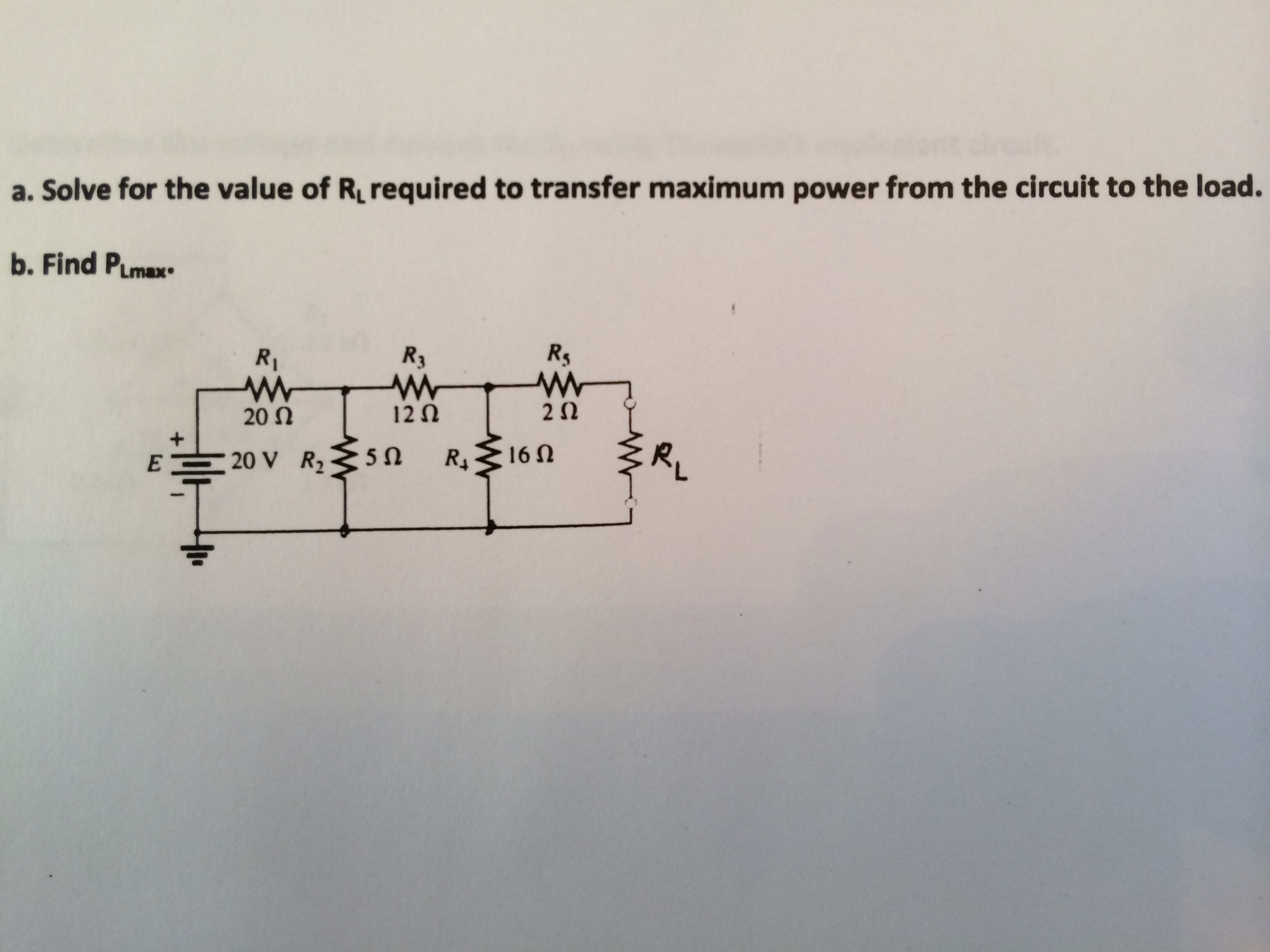 Solve for the value of RL required to transfer max
