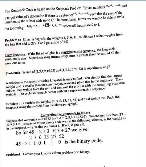 Write a program for knapsack problem