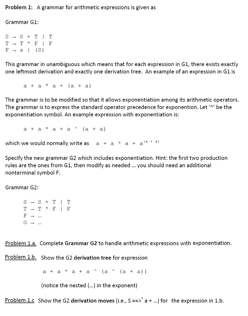 Introduction to formal languages and automata intr chegg problem 1 a grammar for arithmetic expressions is given as grammar g1 f biocorpaavc