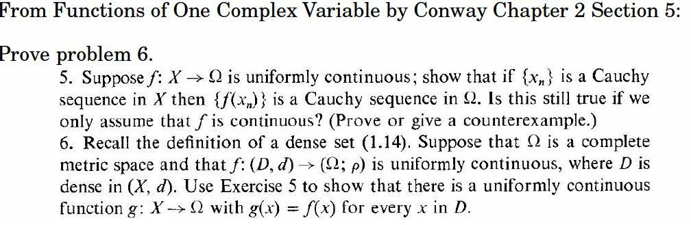 Suppose f: X rightarrow Ohm is uniformly continuou