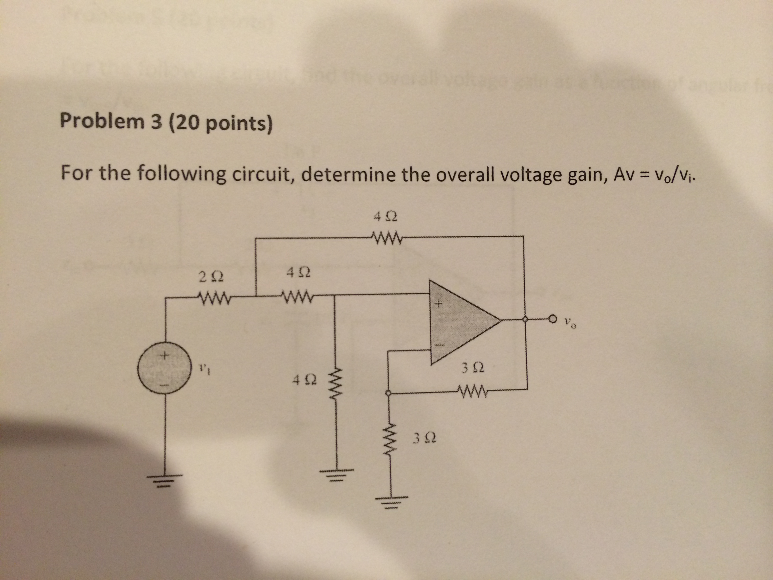 For the following circuit, determine the overall v