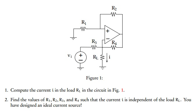 Figure 1: Compute the current i in the load RL in