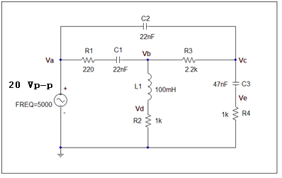 Determine the voltage at each labeled node (Va,Vb,