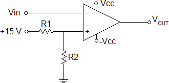 What is the refernce voltage at the + input of an