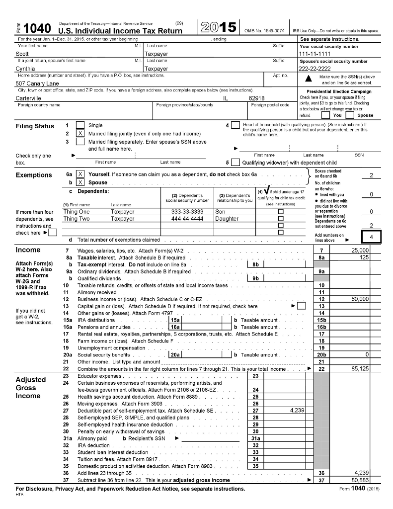 You are an income tax auditor assigned to the taxp chegg you are an income tax auditor assigned to the taxpayers 2015 income tax return the taxpayers are cash basis taxpayers and filed their form 1040 tax return falaconquin
